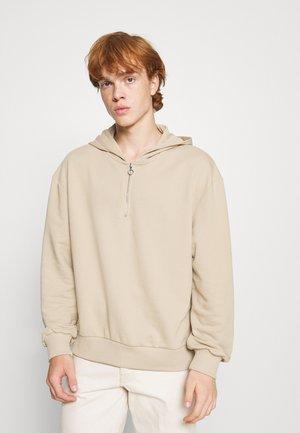 HALF ZIP HOODIE - Sweatshirt - beige