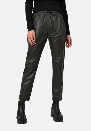 GIFT - Leather trousers - dark khaki