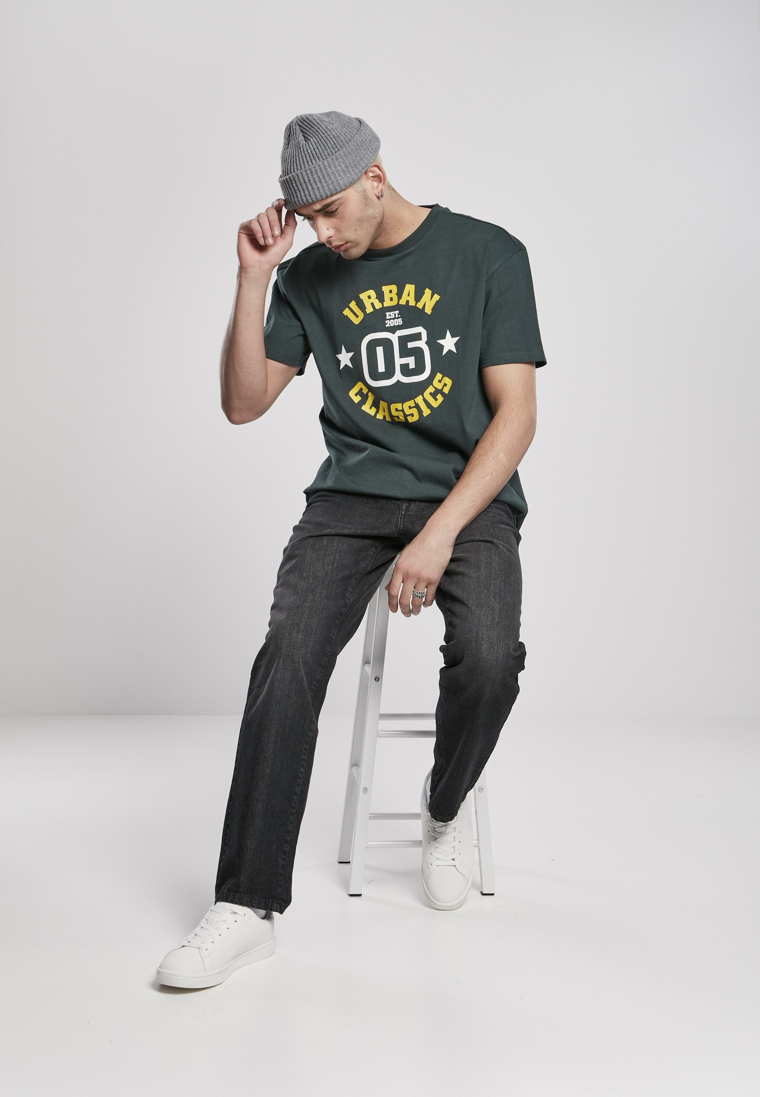 Urban Classics Print T-shirt - bottlegreen psoKp