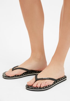 T-bar sandals - black with white