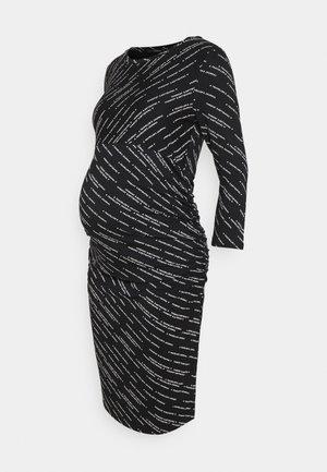 DRESS TEXT - Žerzejové šaty - black