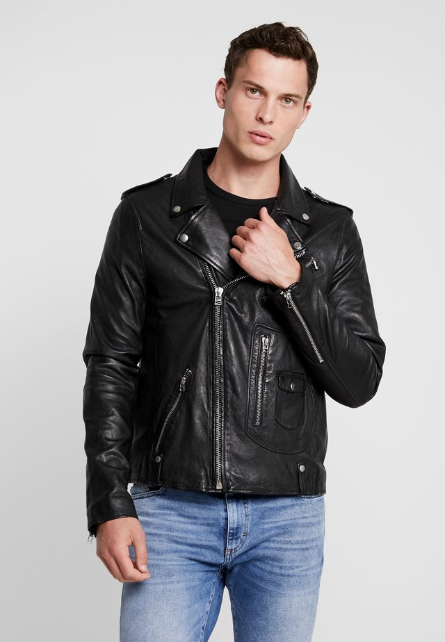 ALEX BIKER - Leather jacket - jet black