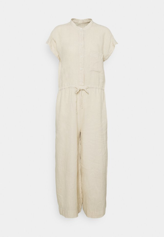 WIDE LEG BAND COLLAR DRAWSTRING CROPPED LEG - Jumpsuit - summer taupe