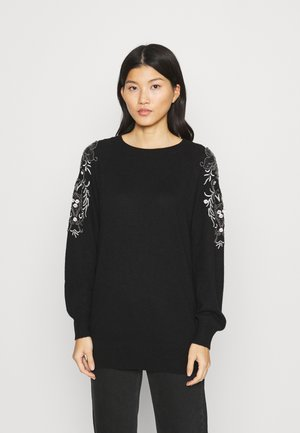 EMBELLISHED RAGLAND JUMPER - Strikkegenser - black