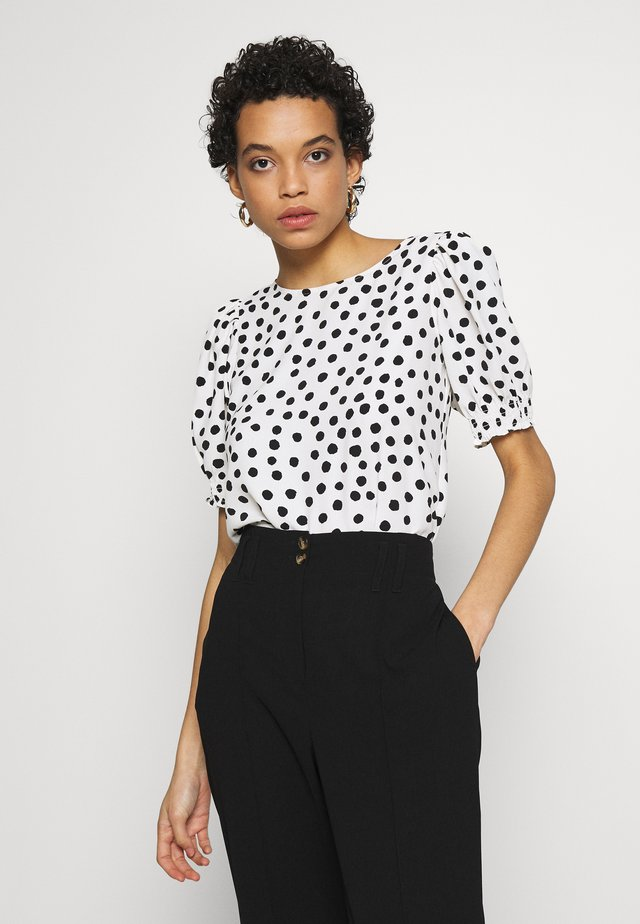 SPOT SHIRRED CUFF TEE - Blouse - off-white