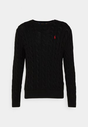 CABLE-KNIT COTTON SWEATER - Pullover - black