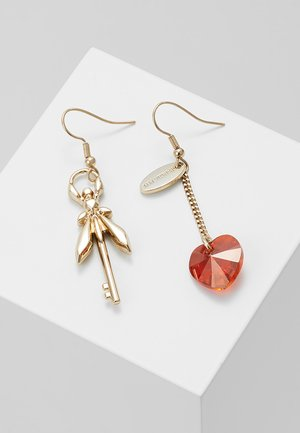 HEART LOCK - Earrings - gold-coloured/red