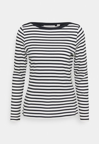 INTERLOCK WITH CONTRAST NECK - Long sleeved top - navy/white