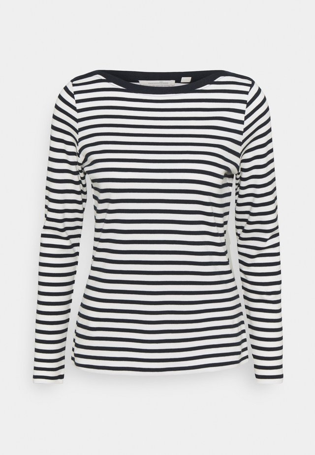 CONTRAST NECK - Long sleeved top - navy/white