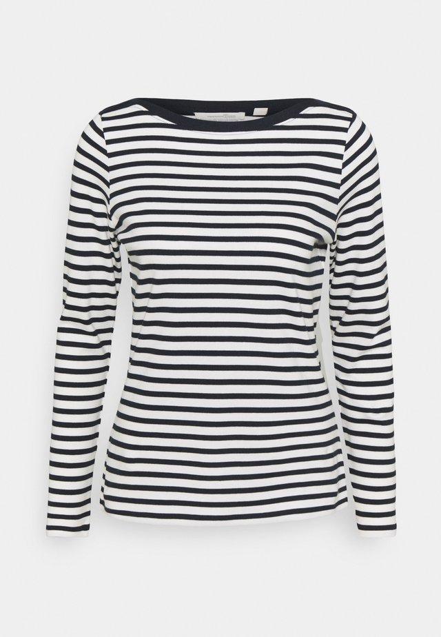 CONTRAST NECK - Maglietta a manica lunga - navy/white