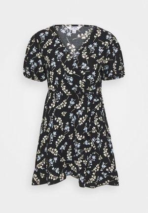 DITSY FRILL FRONT FAUCHETTE MINI DRESS - Jersey dress - black