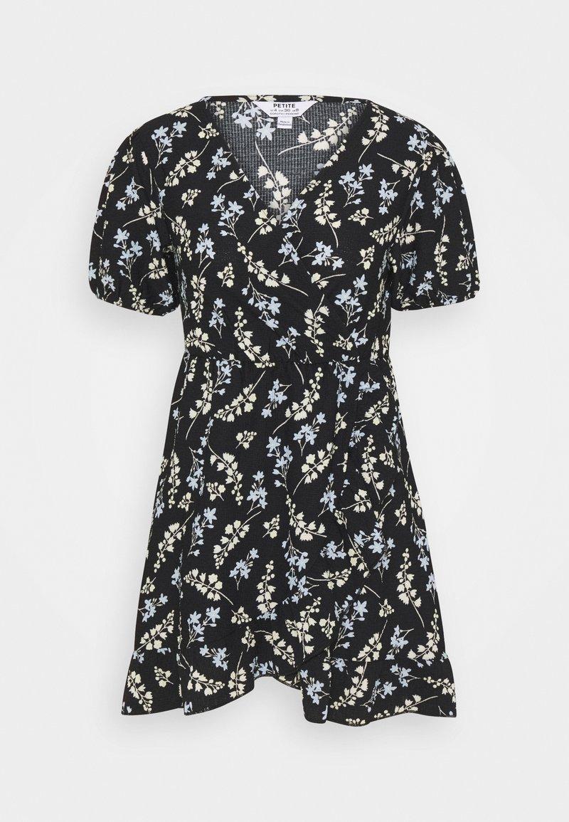 Dorothy Perkins Petite - DITSY FRILL FRONT FAUCHETTE MINI DRESS - Jersey dress - black