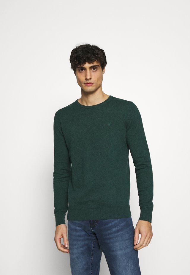 BASIC CREW NECK - Jumper - midnight forest green mélange