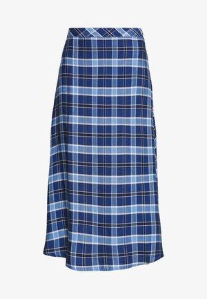 HIGH WAIST SIDE SPLIT MIDI SKIRT - A-line skirt - blue