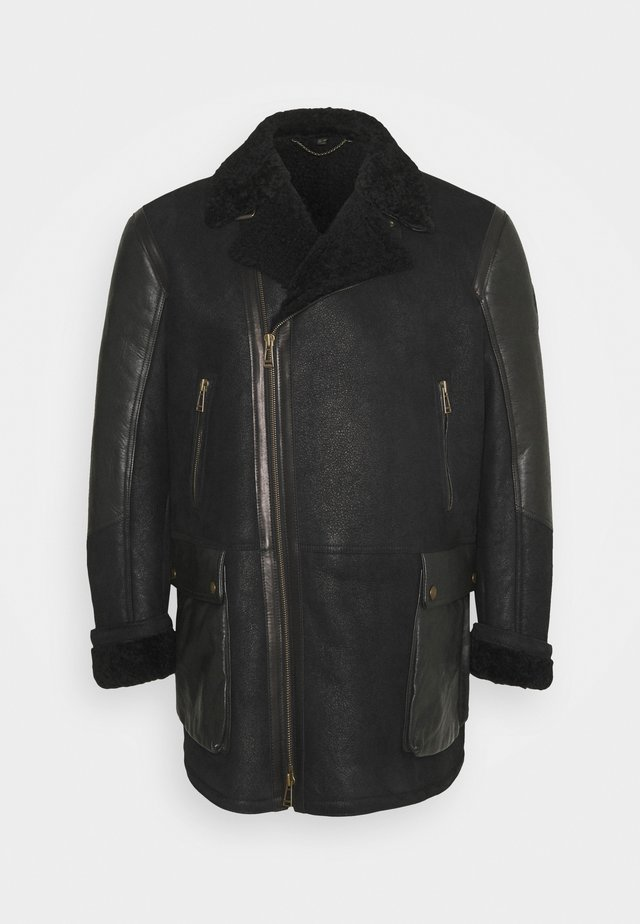 DENNISON JACKET ELEVATED SHEARLING - Kožená bunda - black