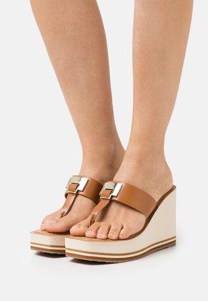 ACARENIA - T-bar sandals - cognac