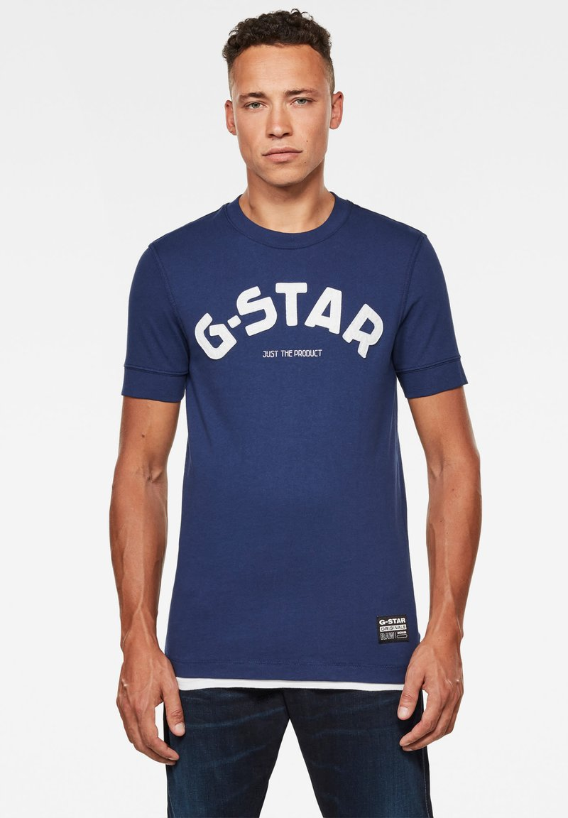 G-Star - FELT APPLIQUE LOGO SLIM ROUND SHORT SLEEVE - T-shirt imprimé - imperial blue