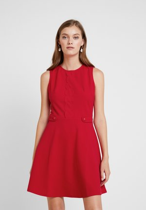 SCALLOPED DETAIL - Jersey dress - red