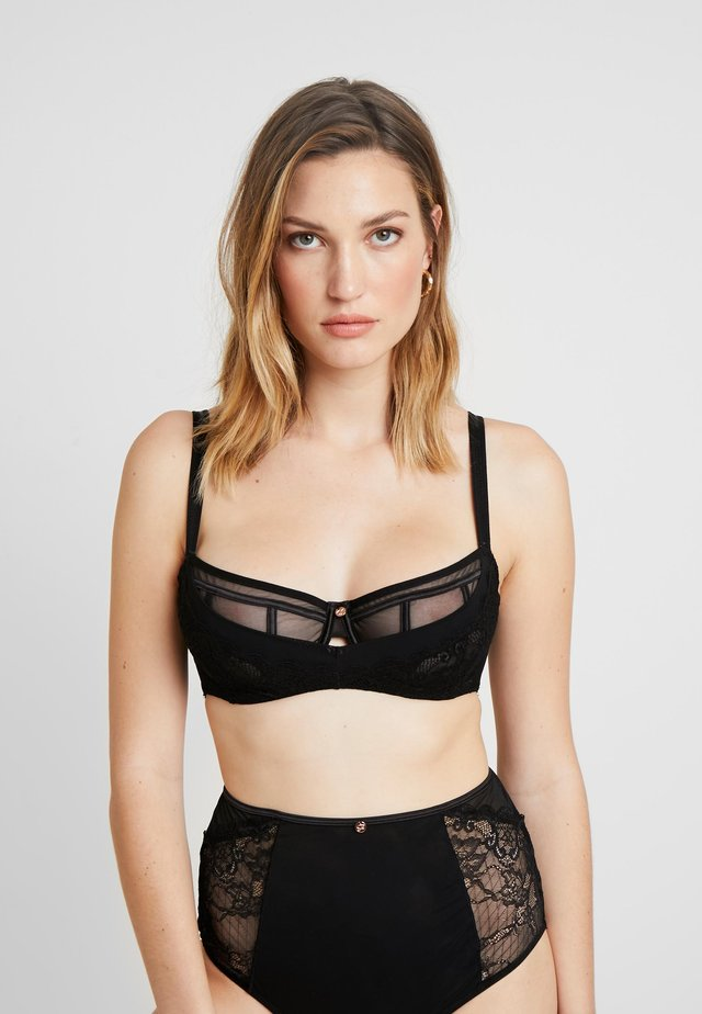 PEEK-A-BOO BALCONY BRA - Underwired bra - black