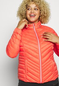 Simply Be - PACKAWAY SHORT LIGHTWEIGHT PADDED JACKET WITH CONCEALED HOOD (SH - Light jacket - coral - 3