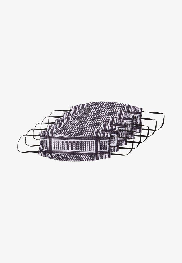 5 PACK  - Stoffen mondkapje - dark purple/white