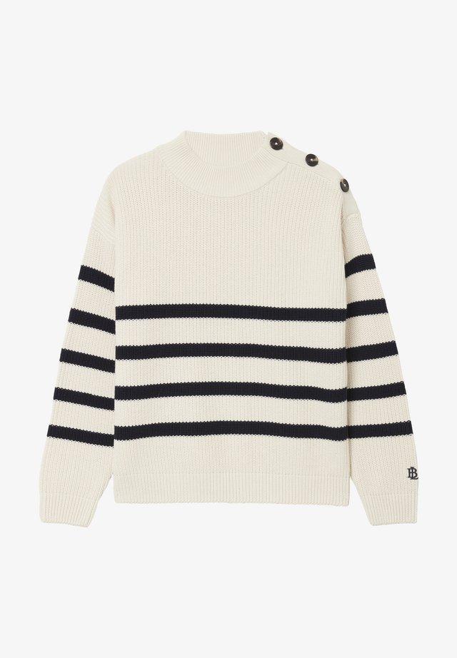 Stickad tröja - offwhite stripe