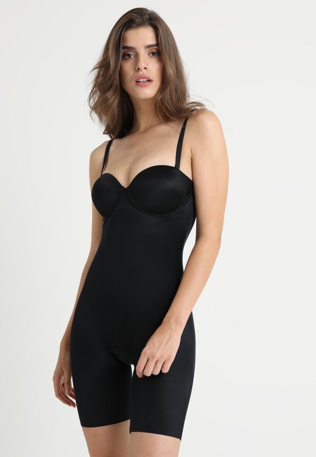 SUIT YOUR FANCY STRAPLESS CUPPED MID-TIGH BODYSUIT - Body - very black