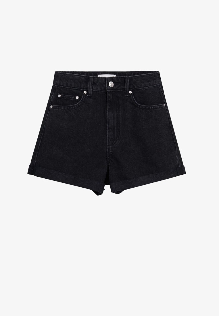 Mango - Short en jean - black denim