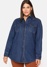 Sheego - Button-down blouse - blue denim - 0
