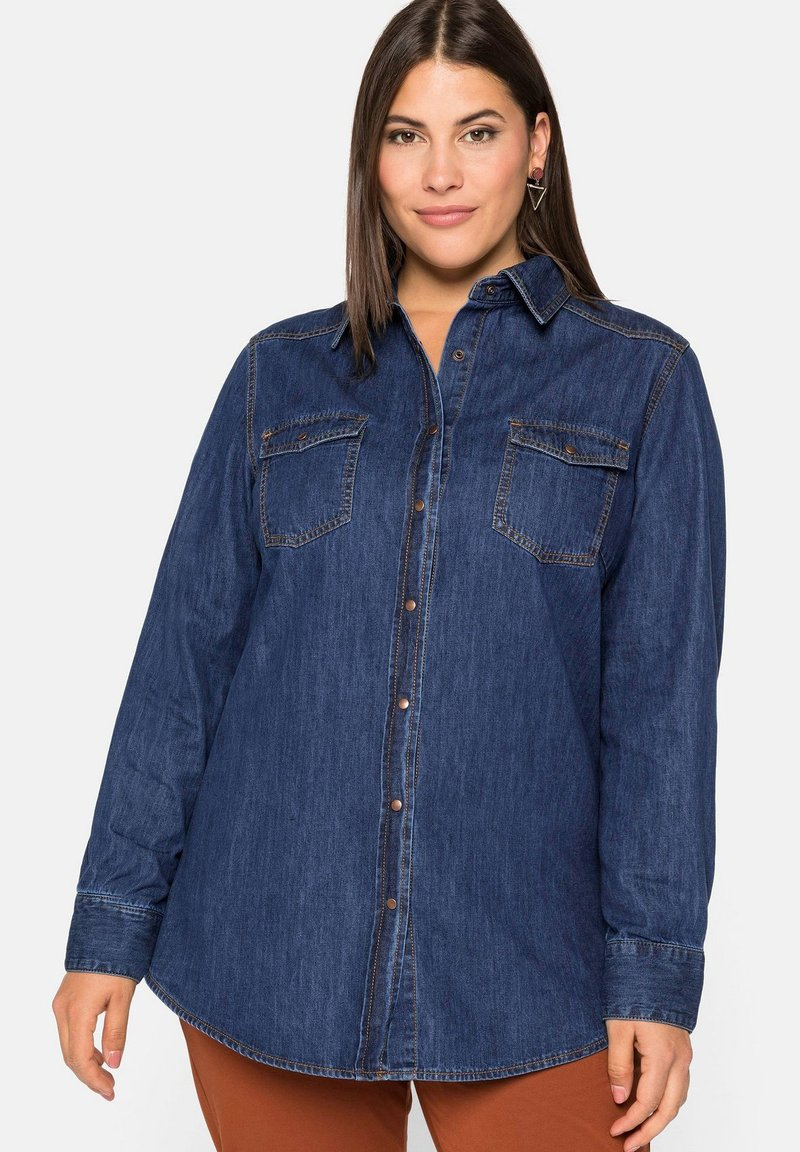 Sheego - Button-down blouse - blue denim