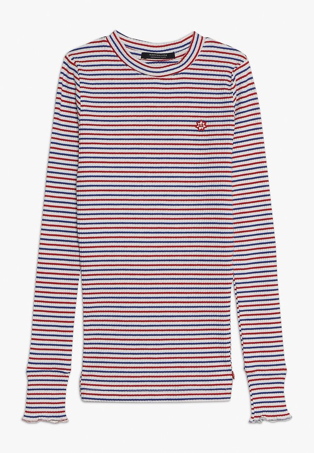 STRIPED TEE WITH RUFFLE AT THE BOTTOM OF THE SLEEVE - Camiseta de manga larga - white/red/blue