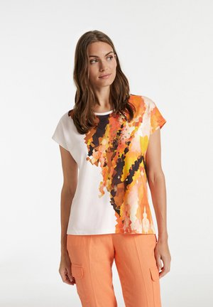 T-shirt z nadrukiem - offwhite gemustert