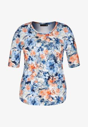 MIT FLORALEM ALLOVERDRUCK UND RUNDHALSAUSSCHNITT - Print T-shirt - blau