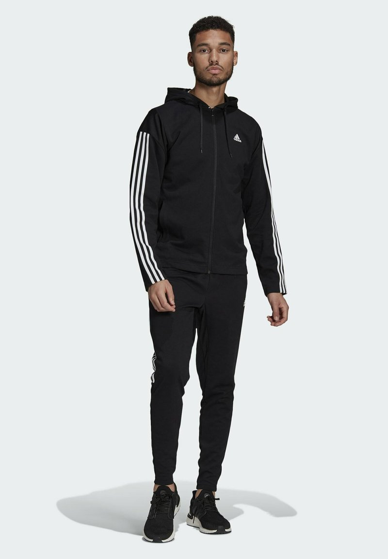 adidas Performance - ADIDAS SPORTSWEAR RIBBED INSERT TRACKSUIT - Survêtement - black