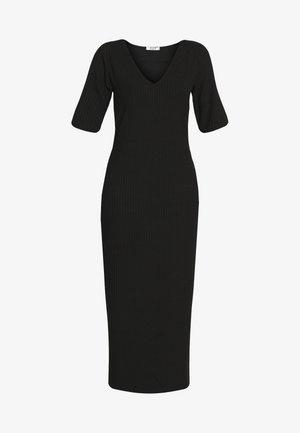 RIBBED V-NECK MIDI DRESS - Korte jurk - black