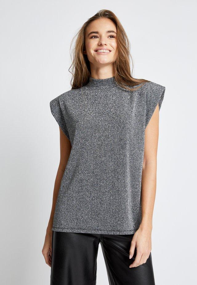 ONLDONNA SHOULDERPAD TEE - T-shirt imprimé - dark grey
