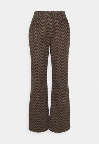 WAVE - Pantaloni - brown/black