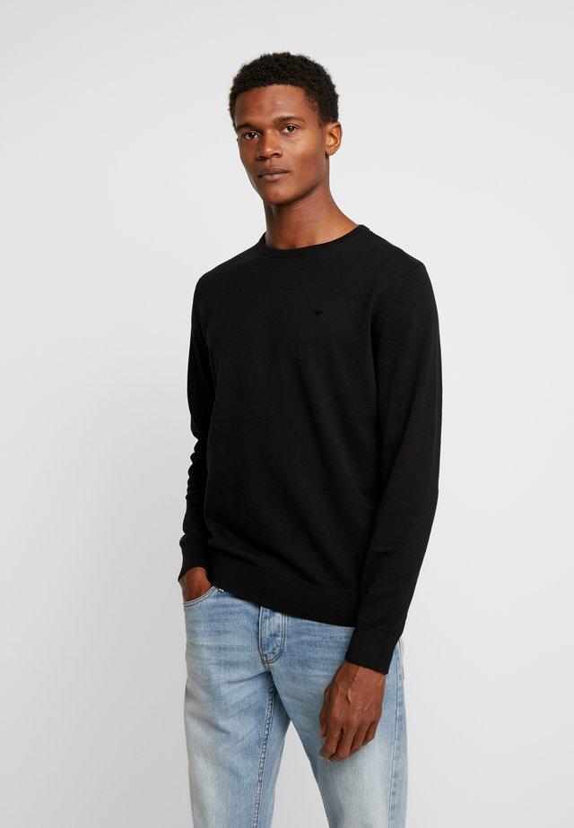 BASIC CREW NECK - Jumper - black