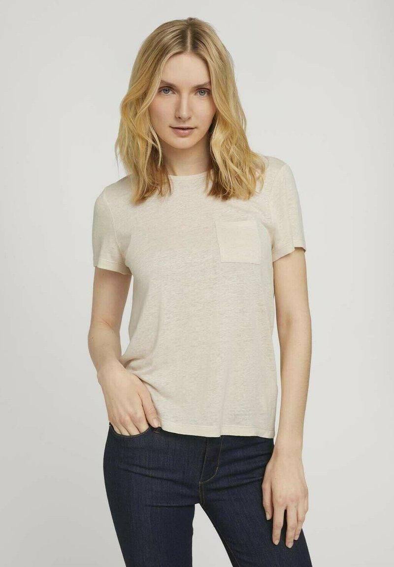 TOM TAILOR - T-shirt - bas - linen white