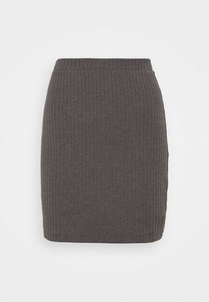 Basic mini ribbed skirt - Jupe crayon - mottled dark grey