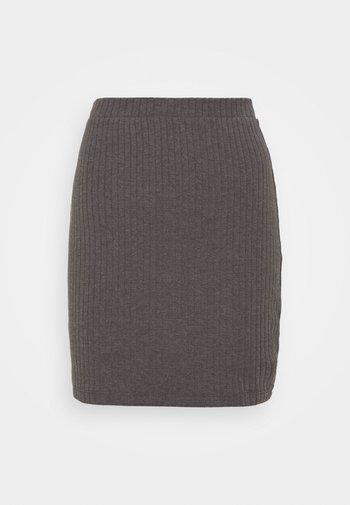 Basic mini ribbed skirt - Falda de tubo - mottled dark grey