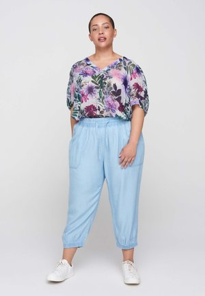 Blouse - purple flower mix