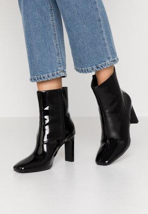 SQUARED TOE BOOT - High heeled ankle boots - black