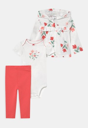 FLORAL SET - T-shirt print - white/red