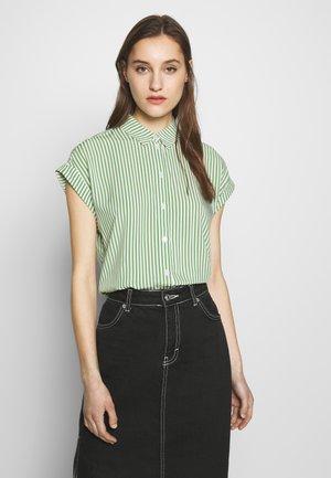 Button-down blouse - green offwhite