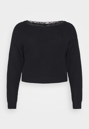 SHOULDER JUMPER - Strikkegenser - black