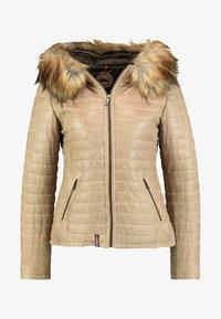 Oakwood - FURY - Leather jacket - dark beige - 5