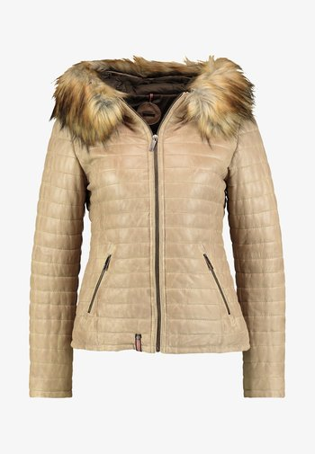 FURY  - Leather jacket - dark beige