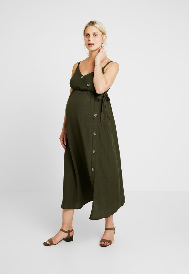 BUTTON FRONT DRESS - Vestito estivo - khaki