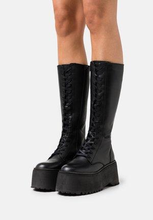 LEATHER - Snørestøvler - black